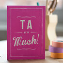 'Ta Very Much' Retro Thank You Card