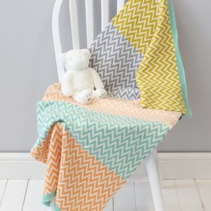 Geometric Multi Colour Baby Blanket - sleeping