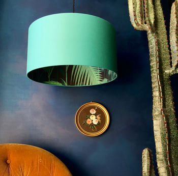 Palm Jungle Silhouette Lampshade In Jade