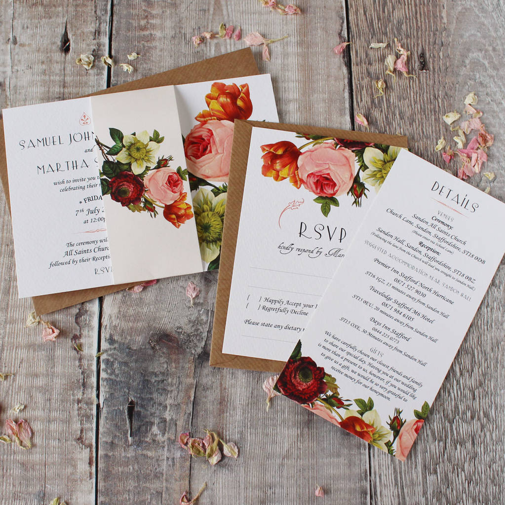 modern botanical wedding invitation suite by vanilla retro