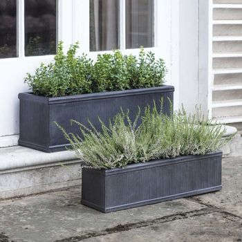 Set Of Two Ribbed Troughs