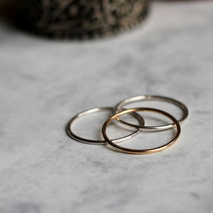 Mixed Metal Skinny Stacking Rings - rings