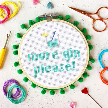 More Gin Please Cross Stitch Craft Kit