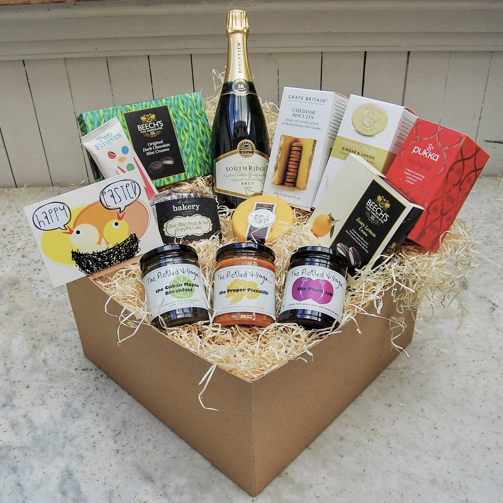 Luxury fairtrade organic chocolate easter egg hampers happy easter deluxe hamper with sparkling wine negle Images