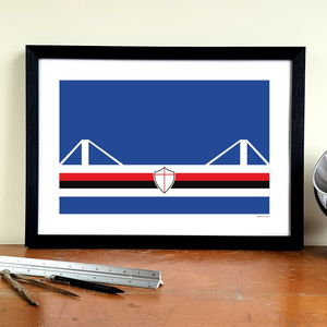 'Blucerchiati Stadio' Minimalist Sampdoria Print - activities & sports