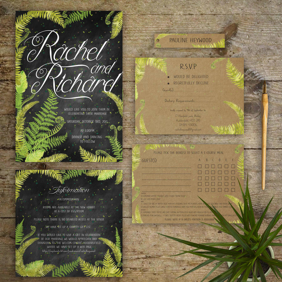 chalkboard ferns wedding invitations by gray starling designs