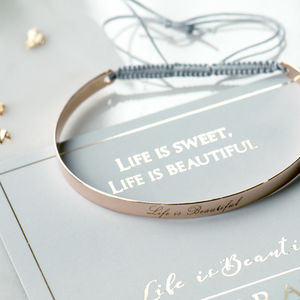 Engraved Cuff Bangle With Inspiring Message
