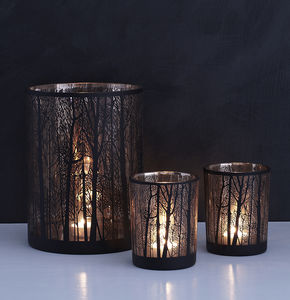 Birch Tree Glass Candle Holders Two Sizes