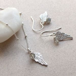 Angel Wing And Stone Jewellery Set