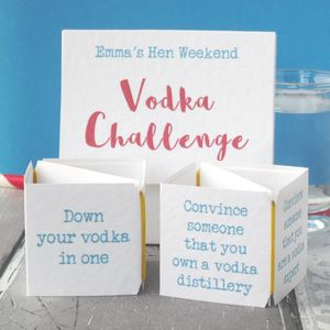 Pop Up Vodka Challenge Hen Night Game