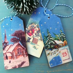 Hand Cut, Wooden Christmas Gift Tags - finishing touches