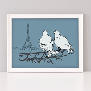 Paris Pigeons Art Print - animals & wildlife