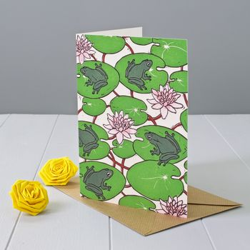 Frogs And Waterlilies Greeting Card