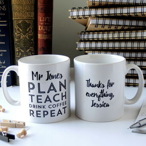 Personalised Plan Teach Repeat Teacher's Mug - gifts for teachers