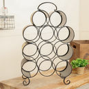 Black Standing Eleven Bottle Wine Rack With Handle