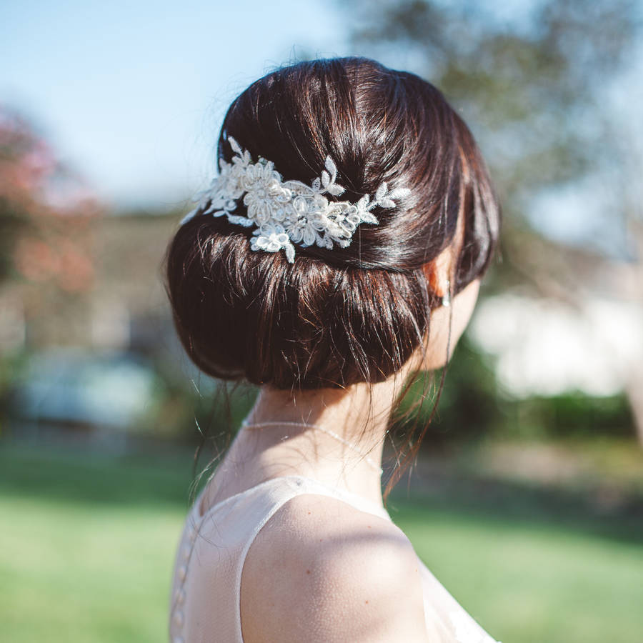 champagne lace vine bridal hair comb 'lerryn'holly young