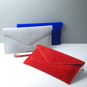 Personalised Suede Envelope Clutch Bag New Colours - 18th birthday gifts