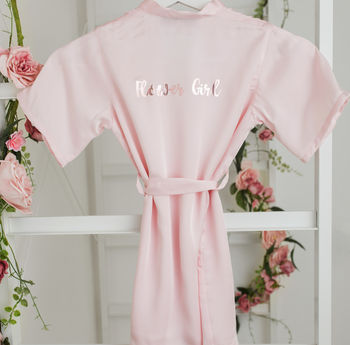 Flower Girl Robe With Rose Gold Or Silver Writing