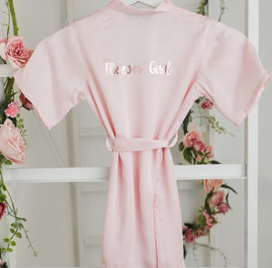 Flower Girl Robe With Rose Gold Or Silver Writing - bridesmaid dresses