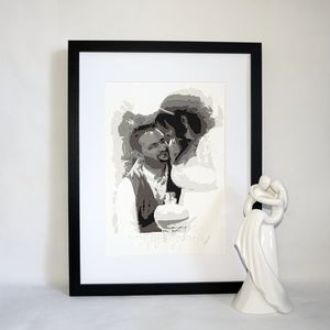 Personalised Wedding Portrait Layered Papercut - mixed media & collage