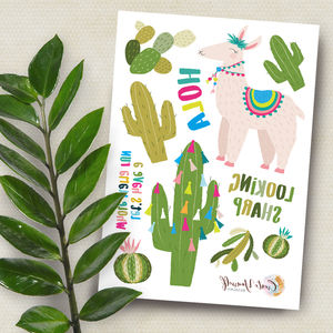 Hola Llama And Cactus Temporary Tattoos - temporary tattoos