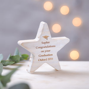 Personalised Graduation Wooden Star Keepsake - living & decorating