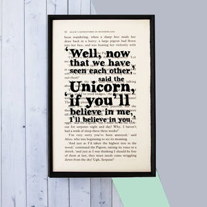 Alice In Wonderland Unicorn 'Believe' Book Page Print