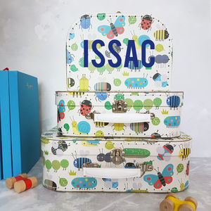 Personalised Bug Suitcase Storage Box Trio - children's room