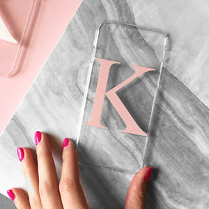 Clear And Dusty Pink Alphabet Phone Case - gifts for teenagers
