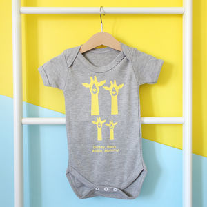 Personalised Giraffe Family Babygrow - new baby gifts