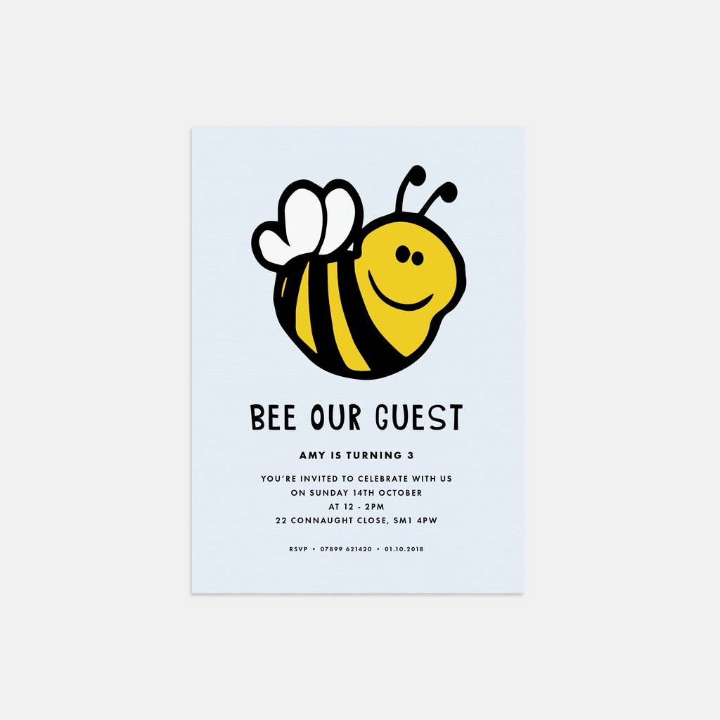 bee our guest birthday party invitations by lola\'s paperie ...