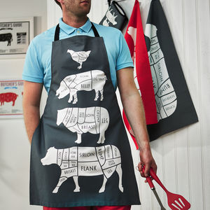Butcher's Meat Cuts Kitchen Apron - gifts for foodies