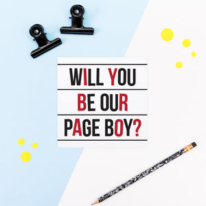 Will You Be Our Page Boy Card Cinema Club