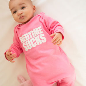 'Bedtime Sucks' Sleepsuit Pink - slogan clothing