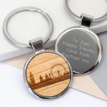 Personalised Wooden London Skyline Key Ring