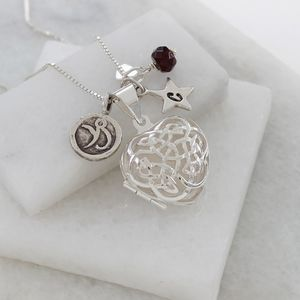 Personalised Celtic Heart Locket With Birthstone - christening jewellery