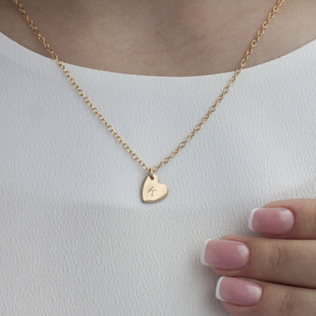Gold Or Silver Heart Necklace With Initial