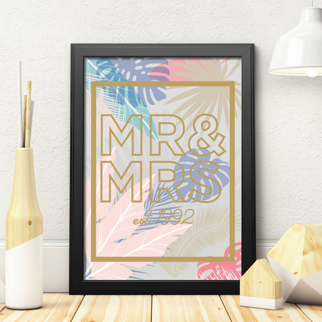 Personalised Floral Mr And Mrs Print