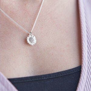 Sunflower Solid Silver Necklace