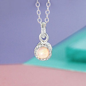 Iridescent Opal Birthstone Silver Necklace - october birthstone