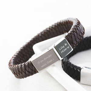 Men's Engraved Message Bracelet - 40th birthday gifts