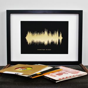 Personalised Metallic Foil Sound Wave Song Print - posters & prints