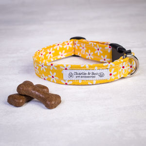 Yellow Floral Dog Collar For Girl And Boy Dogs - pet collars