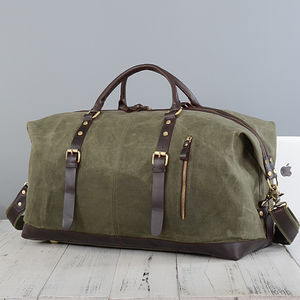 Waxed Canvas Classic Travel Holdall Bag - gifts for him