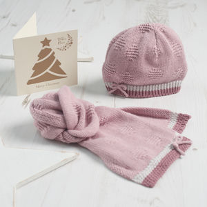 Baby Girl Bow Hat And Scarf Gift Set