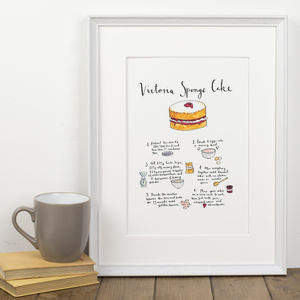 Victoria Sponge Cake Recipe Art Print - gifts for bakers