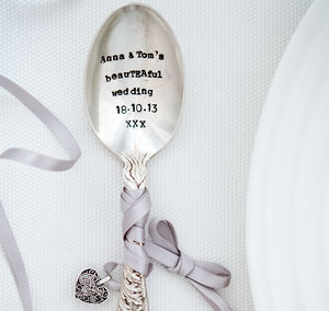 Personalised Vintage Silver Plated Wedding Favour Spoon - wedding favours