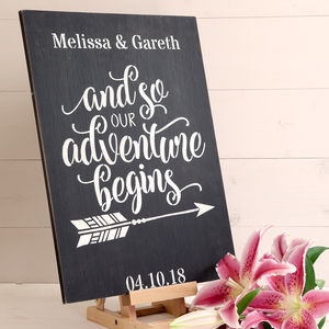 Personalised And So Our Adventure Begins Wedding Sign - summer sale