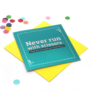 Funny Card 'Run With Scissors' Mirror Card