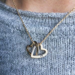 Solid Gold Interlocking Hearts Necklace - gold